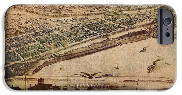 Aerial View iPhone Cases - Traverse City Michigan Vintage 1879 Map Aerial View of Grand Traverse Bay on Worn Parchment iPhone Case by Design Turnpike