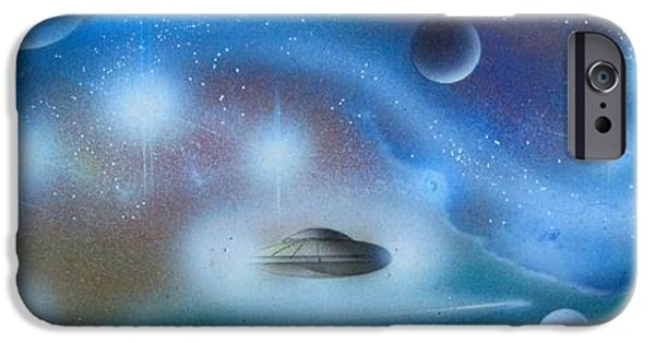 Exoplanet Paintings iPhone Cases - Traversers of the Multiverse iPhone Case by Sam Del Russi