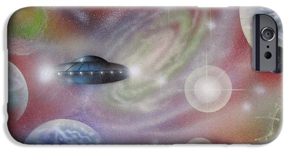 Exoplanet Paintings iPhone Cases - Traversing the Multiverse-2 iPhone Case by Sam Del Russi