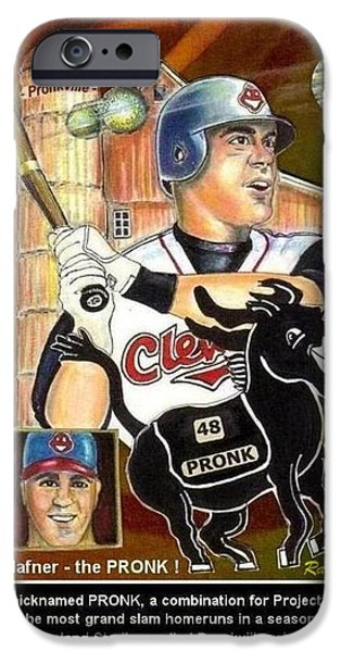 Slam Mixed Media iPhone Cases - Travis Hafner the PRONK iPhone Case by Ray Tapajna