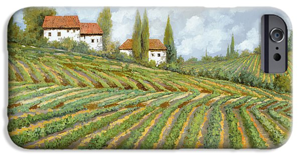White House Paintings iPhone Cases - Tre Case Bianche Nella Vigna iPhone Case by Guido Borelli