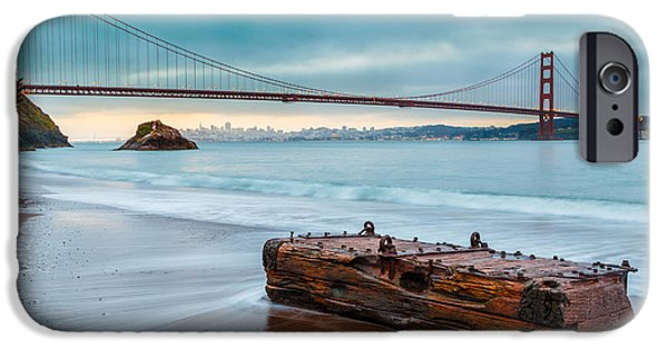 Best Sellers -  - Beach Landscape iPhone Cases - Treasure and the Golden Gate Bridge iPhone Case by Sarit Sotangkur