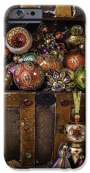 Treasure Box iPhone Cases - Treasure Box With Christmas Ornaments iPhone Case by Garry Gay