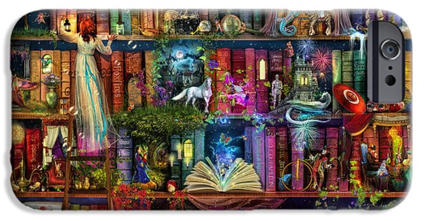 Mysteries iPhone Cases - Fairytale Treasure Hunt Book Shelf iPhone Case by Aimee Stewart