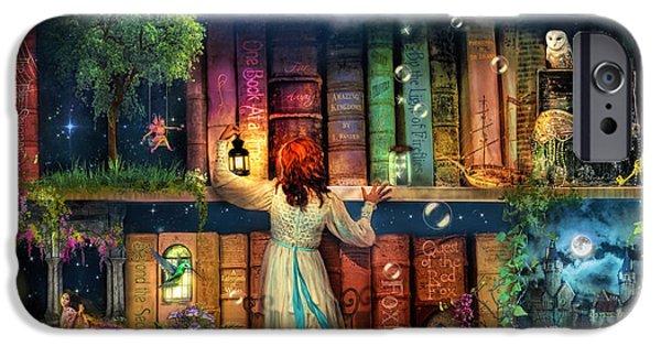 Jester Digital iPhone Cases - Fairytale Treasure Hunt Book Shelf Variant 2 iPhone Case by Aimee Stewart