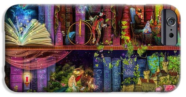 Jester Digital iPhone Cases - Fairytake Treasure Hunt Book Shelf Variant 4 iPhone Case by Aimee Stewart