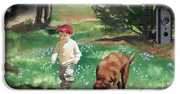 Recently Sold -  - Chocolate Lab iPhone Cases - Treasure Hunt in the Periwinkle iPhone Case by Darlene Weaver