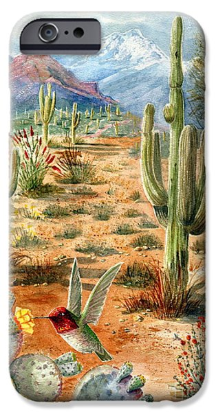 Marilyn Smith Paintings iPhone Cases - Treasures of the Desert iPhone Case by Marilyn Smith