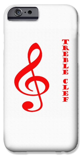 Music Tapestries - Textiles iPhone Cases - Treble Clef iPhone Case by Barbara Griffin