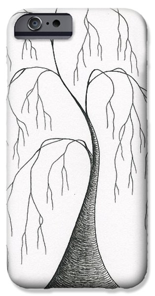 Weeping Drawings iPhone Cases - Melancholy iPhone Case by Chris Bishop