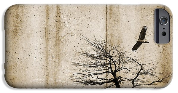 Dirty iPhone Cases - Tree and Bird on rough background iPhone Case by Tim Hester