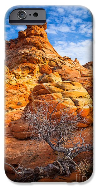 Red Rock iPhone Cases - Tree and Hoodoo iPhone Case by Inge Johnsson