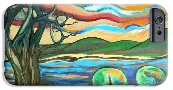 Tree Roots Paintings iPhone Cases - Tree And Lilies At Sunrise iPhone Case by Genevieve Esson