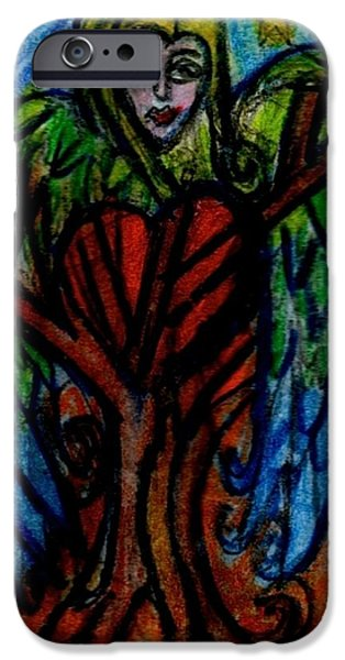 Tree Roots Paintings iPhone Cases - Tree Angel iPhone Case by Genevieve Esson
