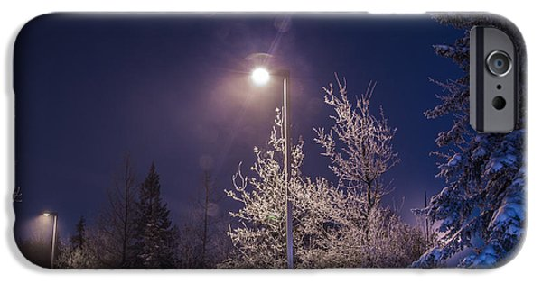Snowy Night iPhone Cases - Streetlight Winter Blues iPhone Case by Alanna DPhoto