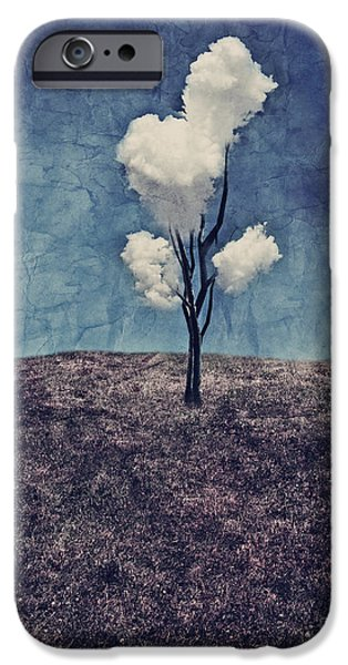 Surreal Landscape Digital iPhone Cases - Tree Clouds 01d2 iPhone Case by Aimelle
