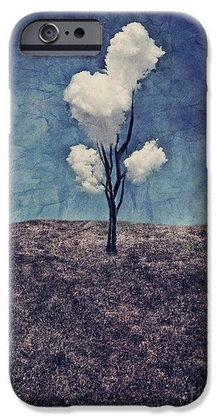 Surrealist iPhone Cases - Tree Clouds 01d2 iPhone Case by Aimelle