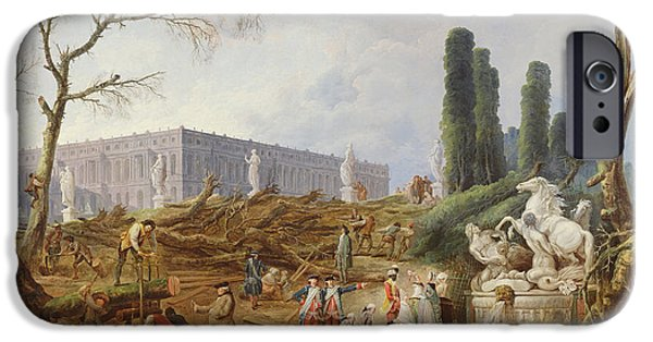 Labour iPhone Cases - Tree Felling In The Garden Of Versailles Around The Baths Of Apollo, 1775-77 Oil On Canvas iPhone Case by Hubert Robert