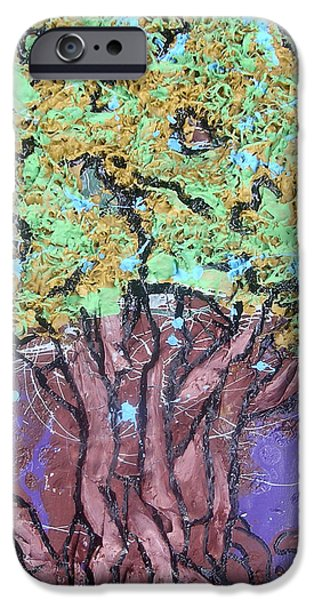The Trees Mixed Media iPhone Cases - Tree In Three Dee iPhone Case by Genevieve Esson
