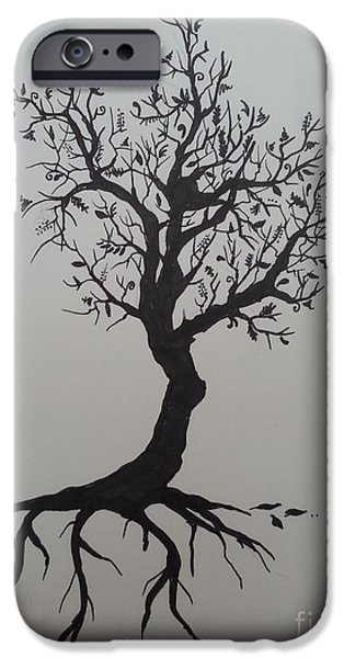 Tree Roots Drawings iPhone Cases - Tree iPhone Case by Jessica Niven