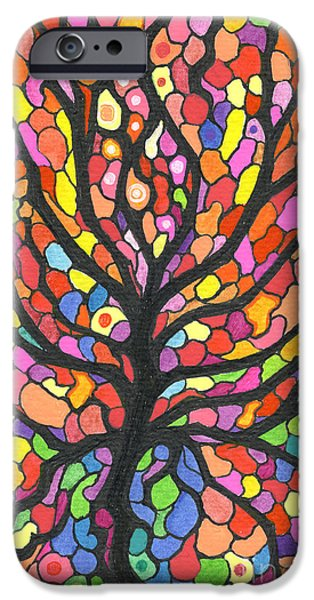 Vibrant Colors Drawings iPhone Cases - Tree Jewels iPhone Case by Nina Kuriloff
