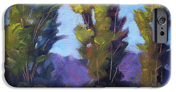 Business Paintings iPhone Cases - Tree Line iPhone Case by Nancy Merkle