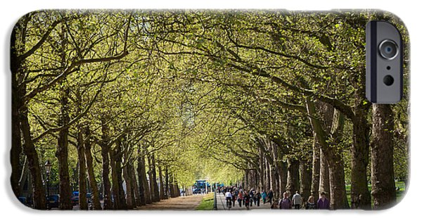 Constitution iPhone Cases - Tree lined path and bridle path at Constitution Hill London. iPhone Case by Peter Noyce