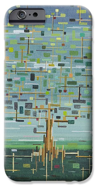 Circuit Paintings iPhone Cases - Tree iPhone Case by Mark  Blome
