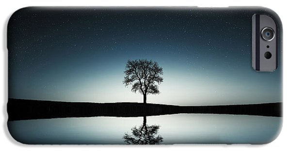 Recently Sold -  - River iPhone Cases - Tree near lake at night iPhone Case by Bess Hamiti
