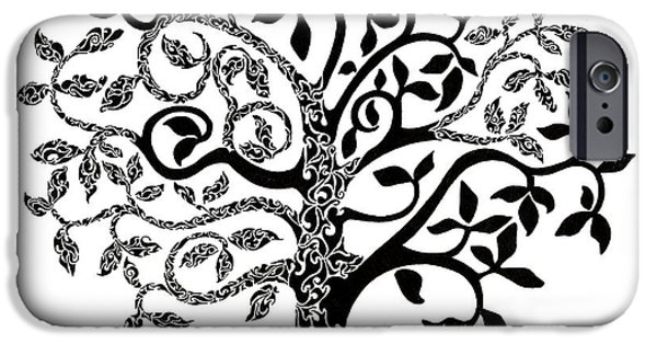 Pen And Ink iPhone Cases - Tree of Life iPhone Case by Anushree Santhosh