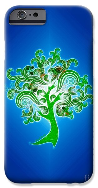Abstract Digital Photographs iPhone Cases - Tree of Life iPhone Case by Cheryl Young