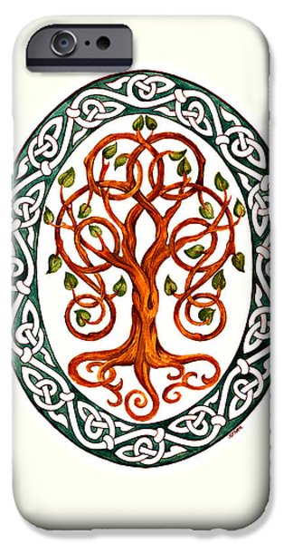Celtic Knotwork iPhone Cases - Tree of Life iPhone Case by Ellen Starr