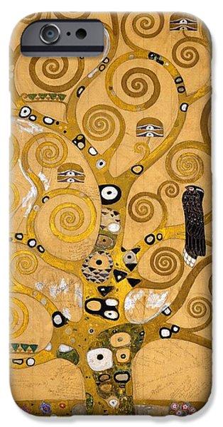 Art Nouveau iPhone Cases - Tree of Life iPhone Case by Gustav Klimt