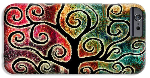 Tree Art Print Mixed Media iPhone Cases - Tree Of Life iPhone Case by Jaison Cianelli