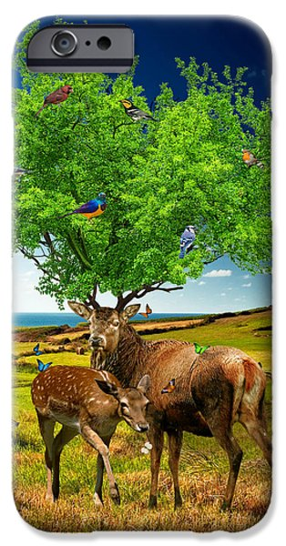 Strange Mixed Media iPhone Cases - Tree of Life iPhone Case by Marian Voicu