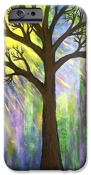 Sun Rays Paintings iPhone Cases - Tree on blue  iPhone Case by Christine Chase