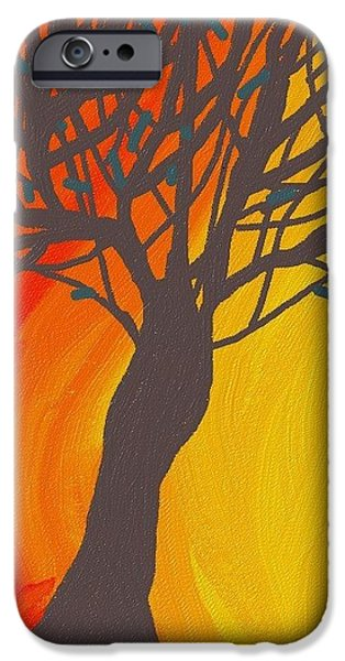 Recently Sold -  - Abstract Digital Digital Art iPhone Cases - Tree On Fire iPhone Case by Abstract Digital