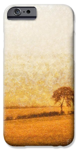 Tree iPhone Cases - Tree on hill at dusk iPhone Case by Pixel  Chimp