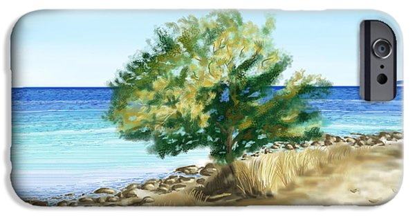 Beach Landscape Digital iPhone Cases - Tree on the beach iPhone Case by Veronica Minozzi