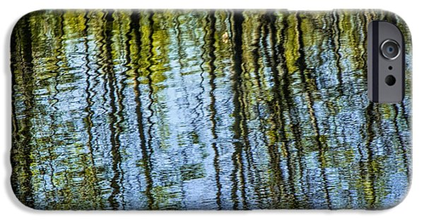 Tree Art Print iPhone Cases - Tree reflections on a pond in West Michigan iPhone Case by Randall Nyhof
