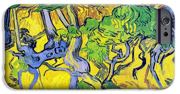 Tree Roots Digital iPhone Cases - Tree Roots And Tree Trunks iPhone Case by Vincent Van Gogh