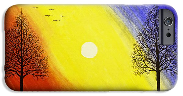 Flying Seagull iPhone Cases - Tree Silhouette AT Sunset Painting iPhone Case by Keith Webber Jr