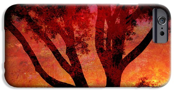 Best Buy Mixed Media iPhone Cases - Tree Silhouette in Sunset Abstraction iPhone Case by John Fish