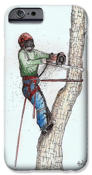 Snake iPhone Cases - Tree Surgeon working on oak tree iPhone Case by Gordon Lavender