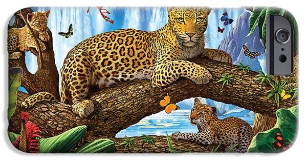 Crisp iPhone Cases - Tree Top Leopard family iPhone Case by Steve Crisp