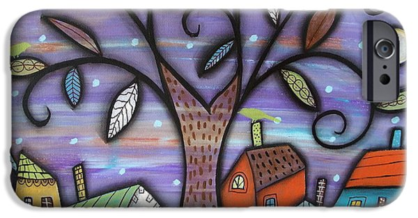 Village iPhone Cases - Tree Town iPhone Case by Karla Gerard