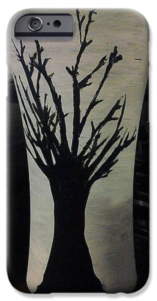 Paint Glass Art iPhone Cases - Tree Vase iPhone Case by Lee Farley