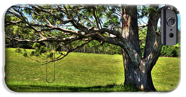 Nature Scene Digital Art iPhone Cases - Tree with a Swing iPhone Case by Kaye Menner