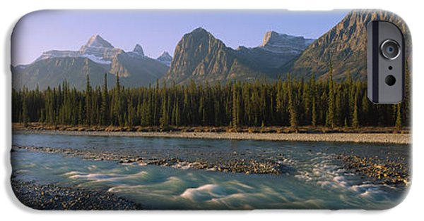 Mountain iPhone Cases - Trees Along A River With A Mountain iPhone Case by Panoramic Images
