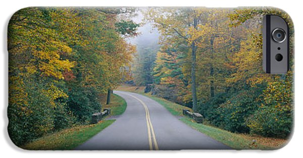 Blue Ridge Parkway iPhone Cases - Trees Along A Road, Blue Ridge Parkway iPhone Case by Panoramic Images